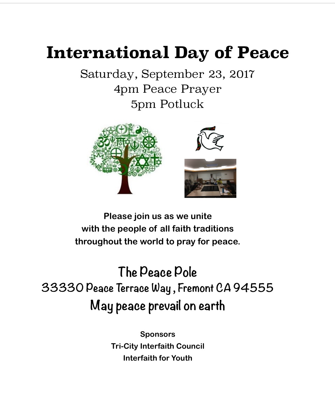 International day of peace for 33330 peace terrace fremont ca 94555